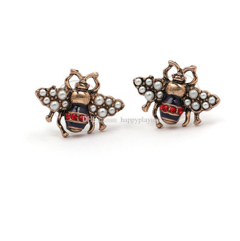 Fashion Insect Bee Pendientes Vintage Rhinestone Pearl Bee Pendientes Accesorios de Joyería Regalo de amor