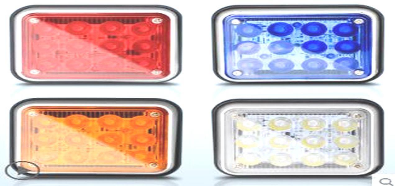 2pcs 자동차 표면 실장 LED 스트로보 경고 빛, 경찰 구급차 불 비상 조명, 12V / 24V, 방수