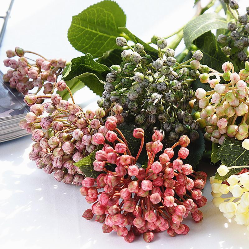 Hydrangea Fruit Baies avec feuilles en plastique Fleurs artificielles à la maison Décoration de jardin Fleur Artificielle 2heads / Branche Fake Plante1