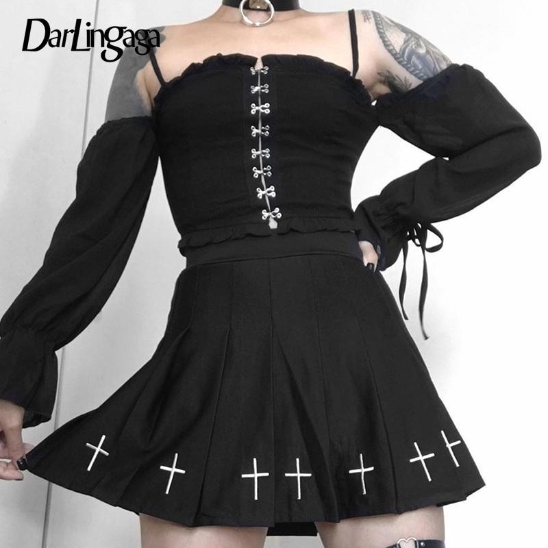 Darlingaga Gótica Black Off debería Top Sexy Blusa Camisa Gancho Moda Camisetas de manga larga de destello larga Mujeres Tops Fashion Halloween T200813