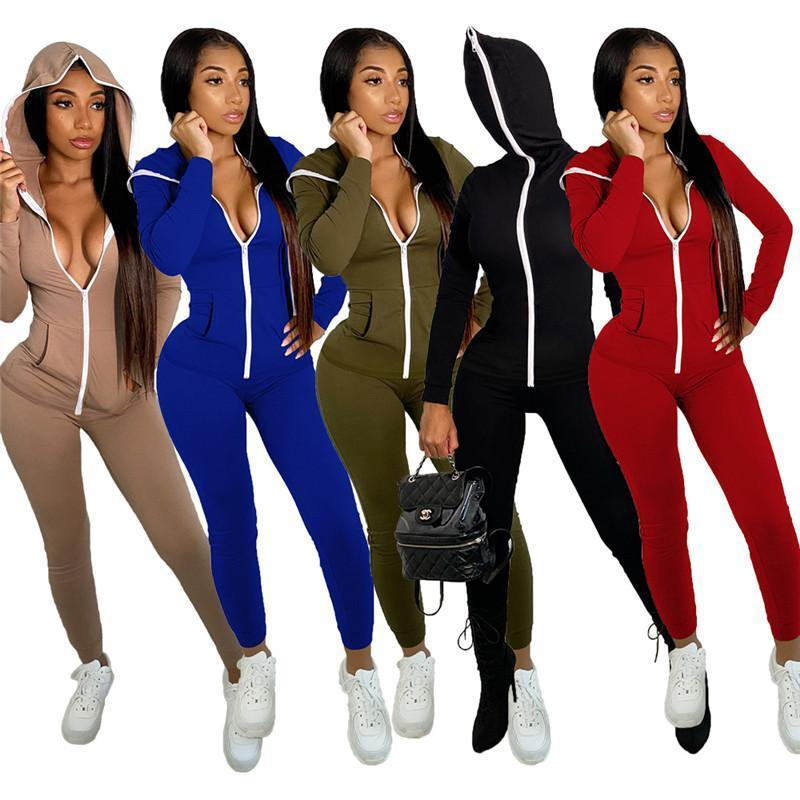 Fashion Women Onesies Sexy Jumpsuits V Neck Rompers Ladies Long Sleeve Bodysuit Autumn Winter Zipper Skinny Jumpsuit Female Overalls