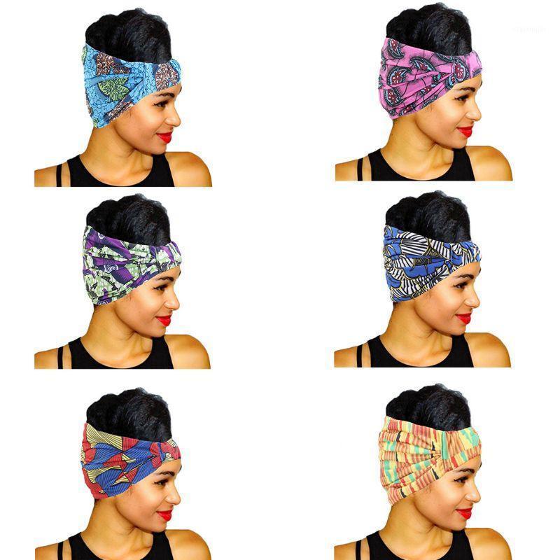 Saç Aksesuarları Kadınlar Elastik Ultra Geniş Bandana Kafa Renkli Geometrik Çizgili Çiçek Afrika Baskı Headwrap Pileli Streç Türban1