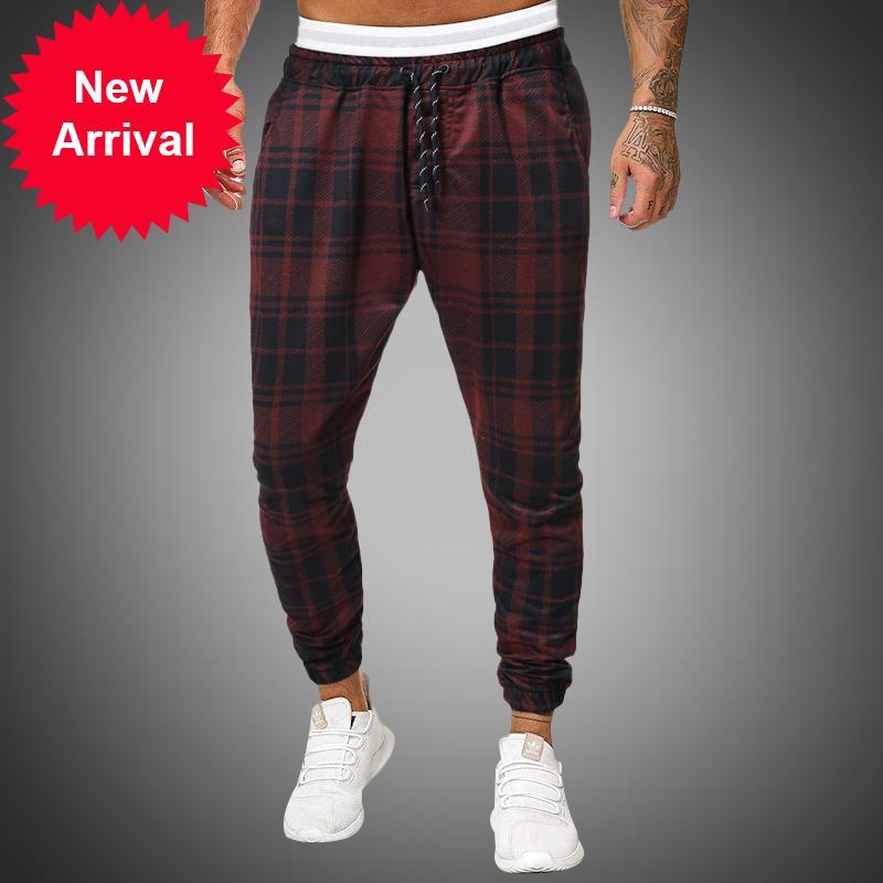 LBL Streetwear rosso scacchi da uomo jogging 2020 casual uomo dritto lepre coreano maschio hip hop pista pantaloni pantaloni lunghi
