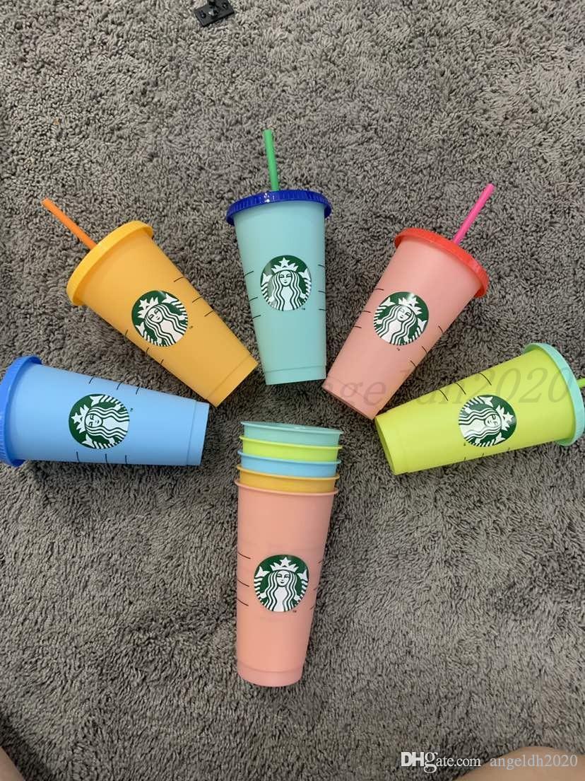 24z / 710ml Tumbler Wiederverwendbare Farbwechsel Drinking Flacher Becher Säule Form Deckel Stroh Becher Starbucks Farbe Ändern von Kunststoff Tasse 5 stücke