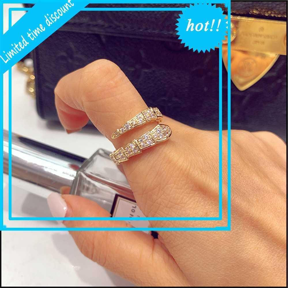 Coreano impegnato Zirkoon Snake per le donne alla moda apertura tendenza di lusso pieno cristallo wijsfinger anello gioielli da donna