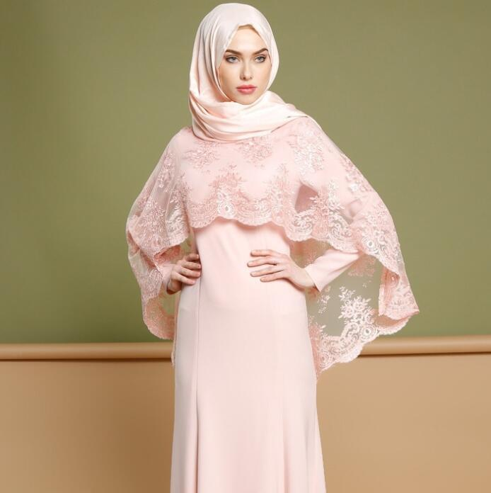 Party Dress Fashion musulmano lungo due pezzi ricamato di promenade dell'abito lunghezza del pavimento su ordine Eid al-Fitr Robes