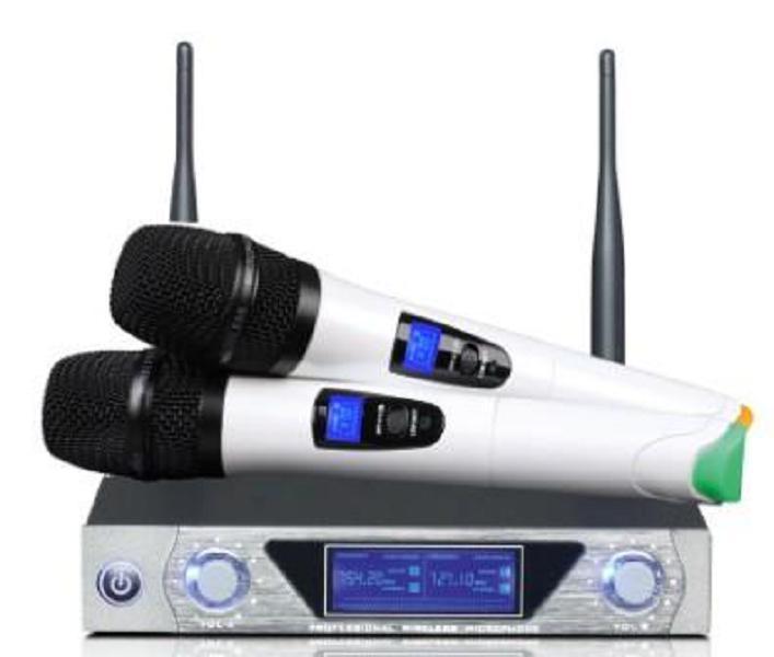 المزدوج المحمولة ميكروفون لاسلكي المهنية UHF ميكروفون مع نوعية جيدة ميكروفون FM لاسلكي ميكروفون