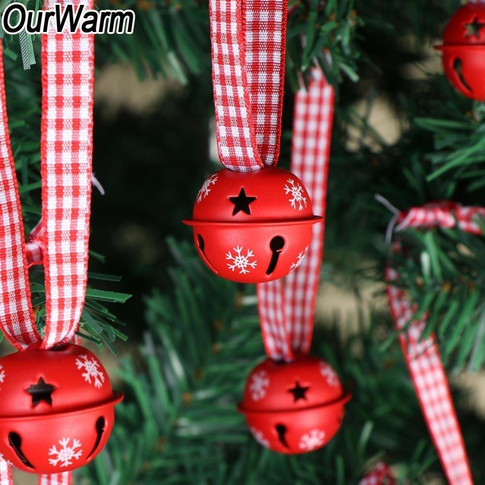 OurWarm 20pcs Jingle Bells Christmas Tree Hanging Ornaments Red Snowflake Metal Bells Christmas Tree Decoration with 30cm Ribbon Y201020