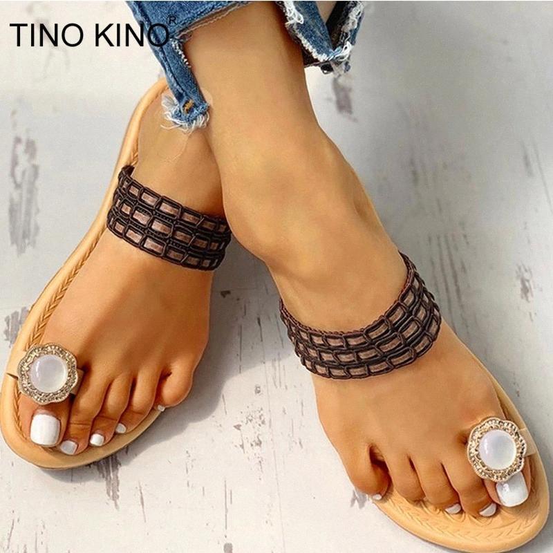 Tino Kino Yaz Kristal Kadın Terlik Süslenmiş Toe Yüzük Sandalet Kadın Flip Flop Rahat Düz Ayakkabı Bayanlar Beach Ayakkabı # QZ9z