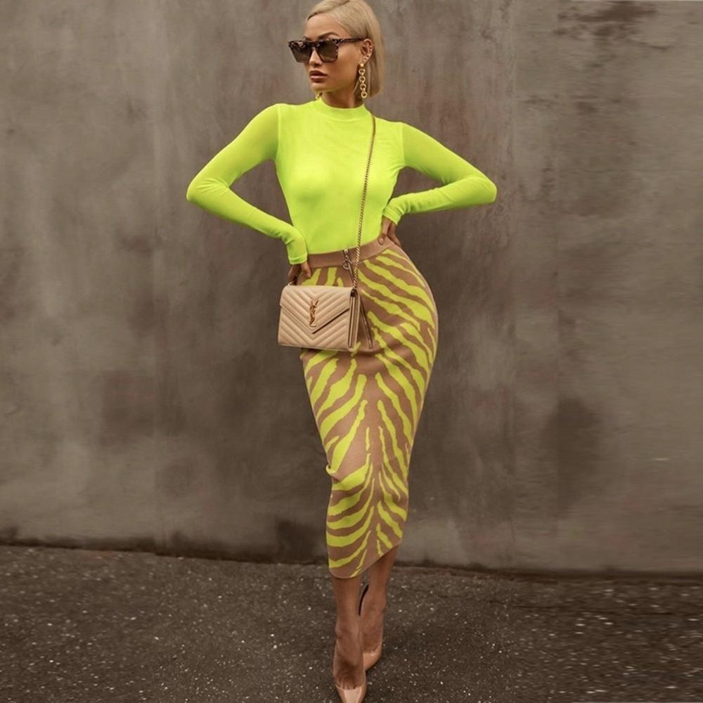 Ocstrade Yeni Varış 2020 Moda Uzun Bandaj Etek Kadın LIME Zebra Baskı Bodycon Bandaj Etek Midi Kulübü Parti Etek LJ200819