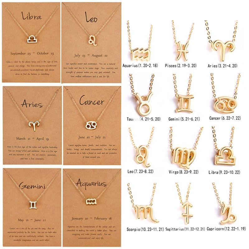 Collana personalizzata della collana della carta della scheda all'ingrosso delle donne del minimalista 12 della collana dello zodiaco