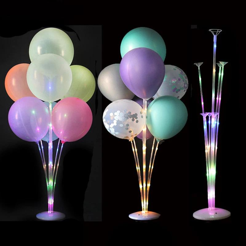 LED 가벼운 공기 공 스탠드 홀더 열 아이 생일 파티 풍선 스틱 웨딩 테이블 장식 Baloon 헬륨 Globos 성인 Ballon