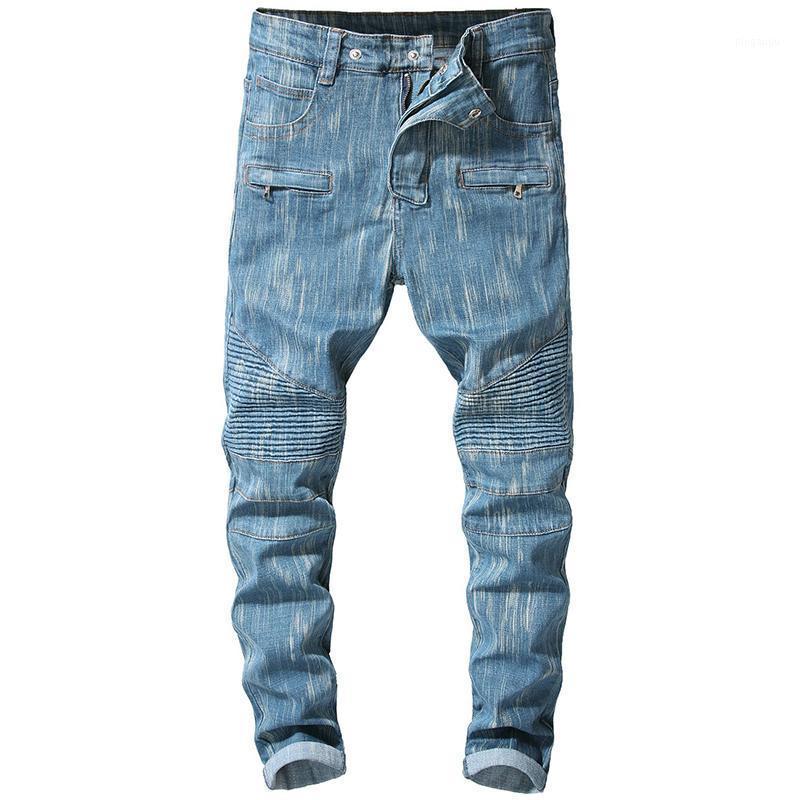 Sokotoo erkek Mavi Streç Denim Biker Jeans Motosiklet Artı Boyutu için Slim Pileli Pantolon1