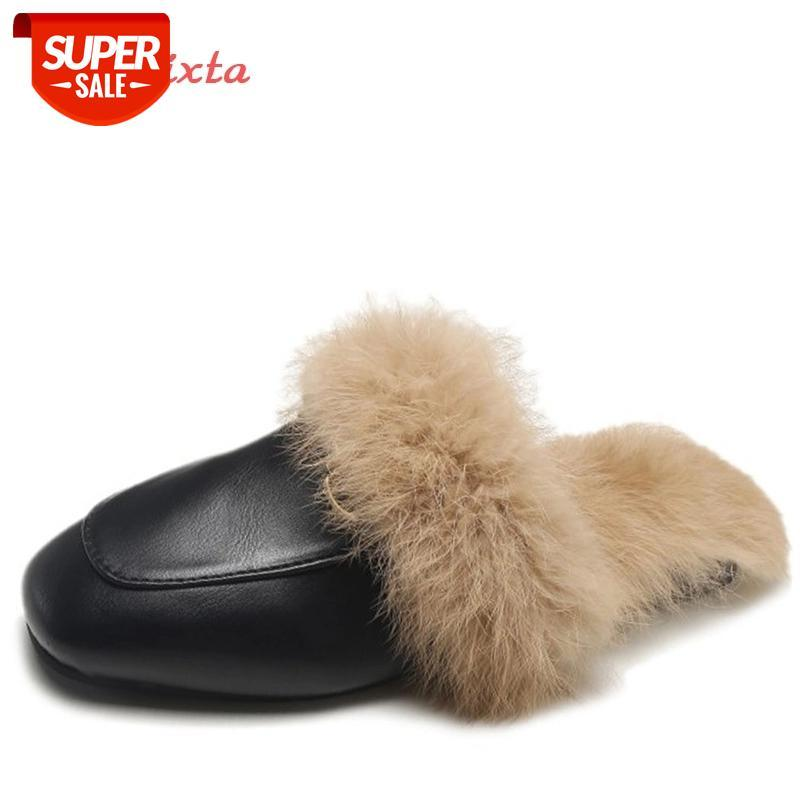 Aphixta Big Size 44 Real Fur Slippers Shoes Woman 2020 Mules Women's Tassel Slides Winter Warm Women Shoes Fashion Bee Slippers #lZ5p