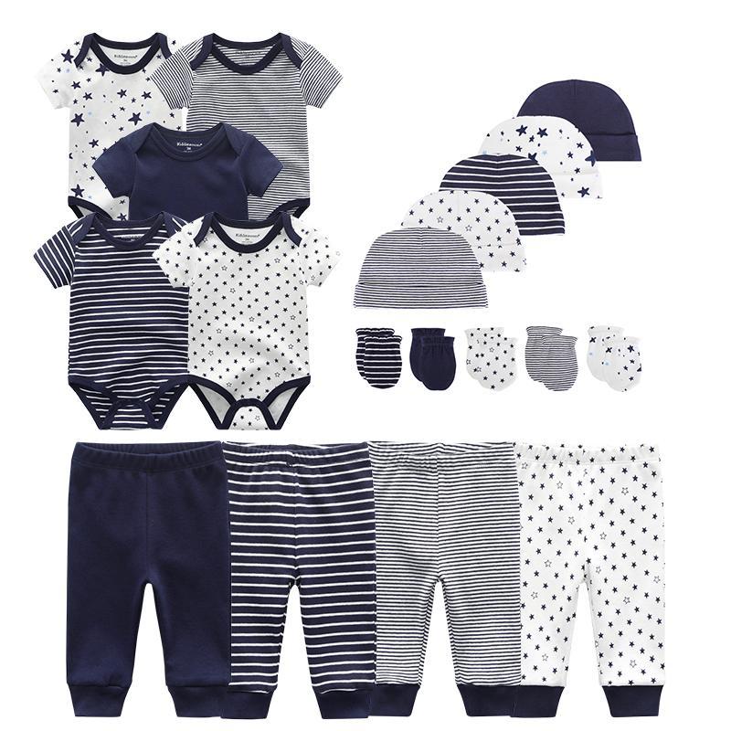유니섹스 새로운 태어난 아기 소년 옷 Bodysuits + 바지 + 모자 + 장갑 아기 소녀 옷 면화 의류 세트 Y1113