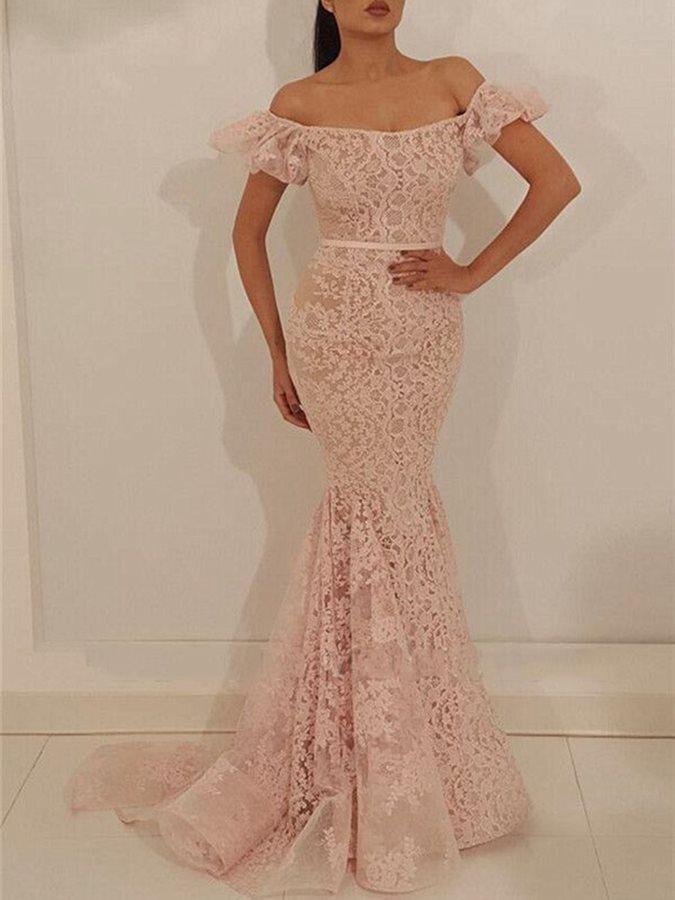 Vestido bonito Lace apliques Prom Vestidos Off The Shoulder Bock Evening Partido Neck para a ocasião especial