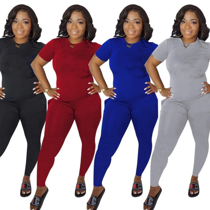 Женщины 2 шт. Набор спортивная спортивная рубашка рубашки брюки с короткими рукавами спортивная одежда рубашка брюки спортивные болота пуловер колготки спортивная одежда Hot KLW1326
