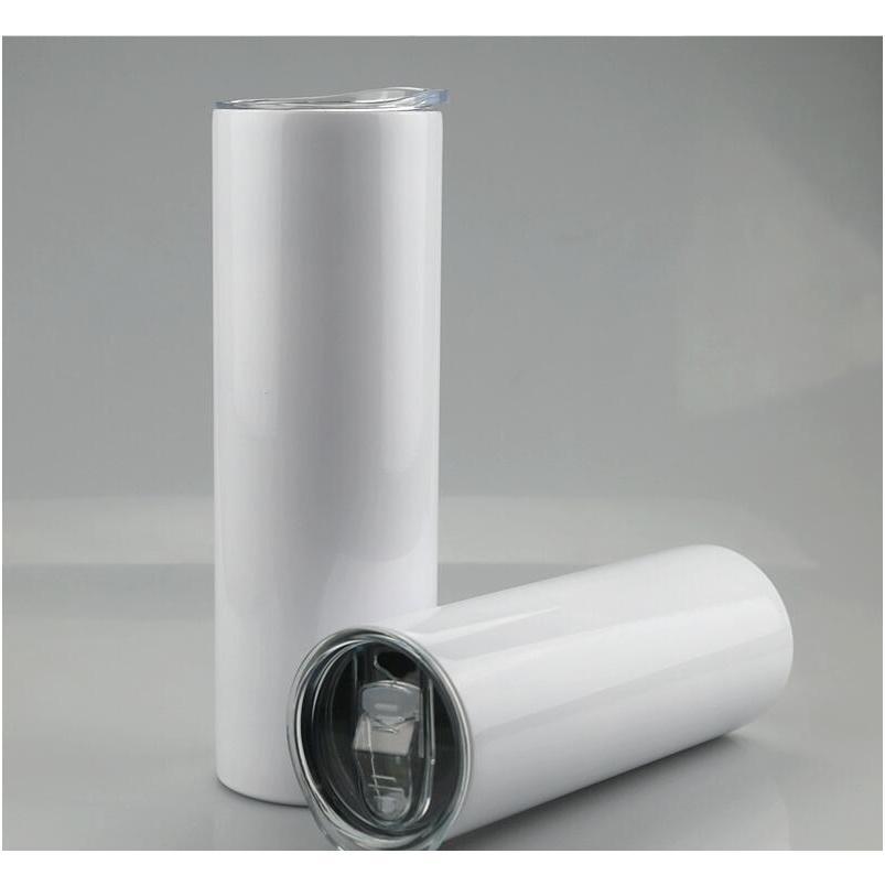 20 أوقية 30 أوقية فارغة التسامي مستقيم البهلوانات الفولاذ المقاوم للصدأ فارغة كأس نحيل بيضاء مع غطاء والبلاستيك سترو البحر الشحن CCA12593
