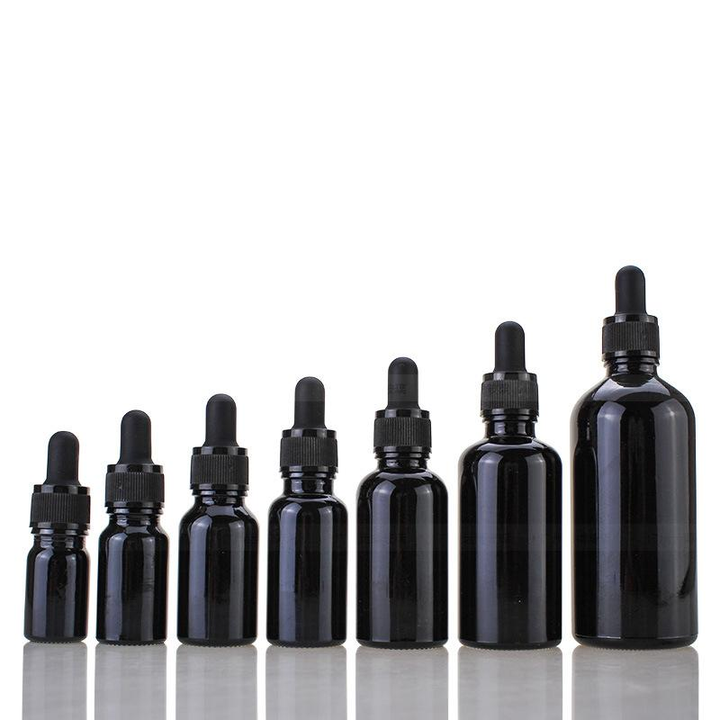 2021 Embalaje de aceite en suero Botellas de gotero de vidrio negro 5ml 10ml 15ml 20ml 30ml 50ml 100ml con gotero de vidrio Botella de perfume