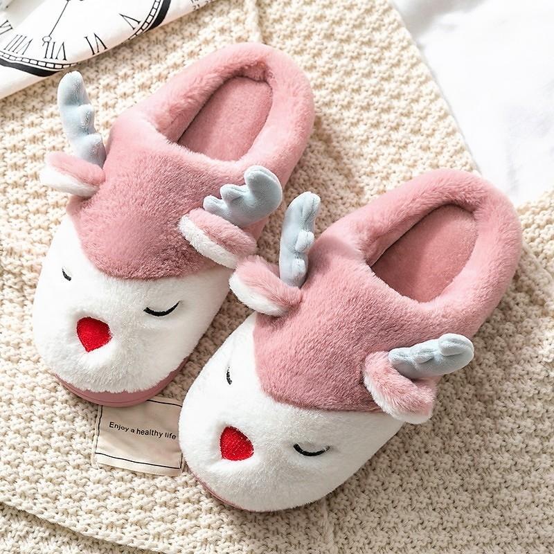 Женские тапочки зима теплый дом 3D мультфильм лось дома не скользят плюшевые хлопчатобумажные туфли мужчины женские пару спальни меховые горки Zapatillas 201204
