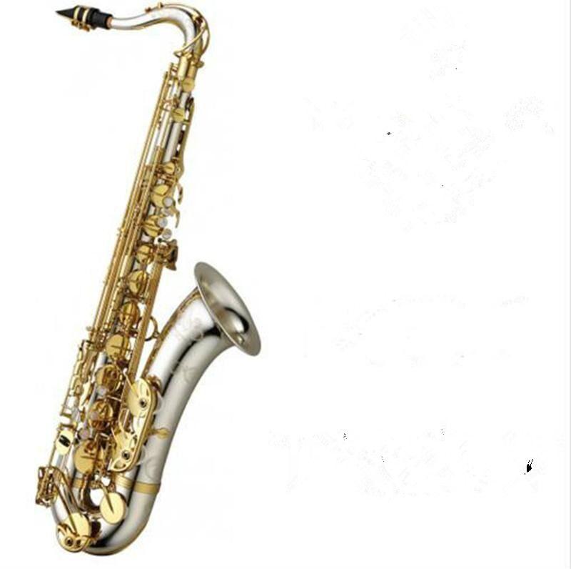المهنية الجودة تينور bb ساكسفون الفضة سطح الذهب مفتاح b شقة سيكس مع المعبرة القصب ريدز