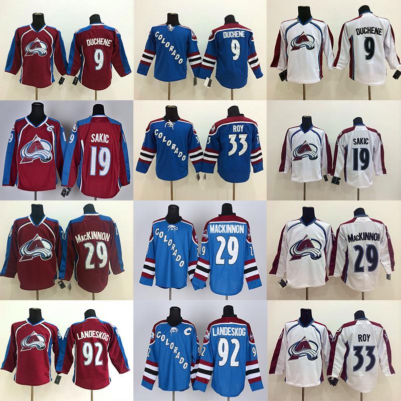Colorado Avalanche 29 Nathan Mackinnon 92 Gabriel Landeskog 96 Mikko Rantanen مخيط 9 مات Duchene 19 Joe Sakic Hockey Jerseys