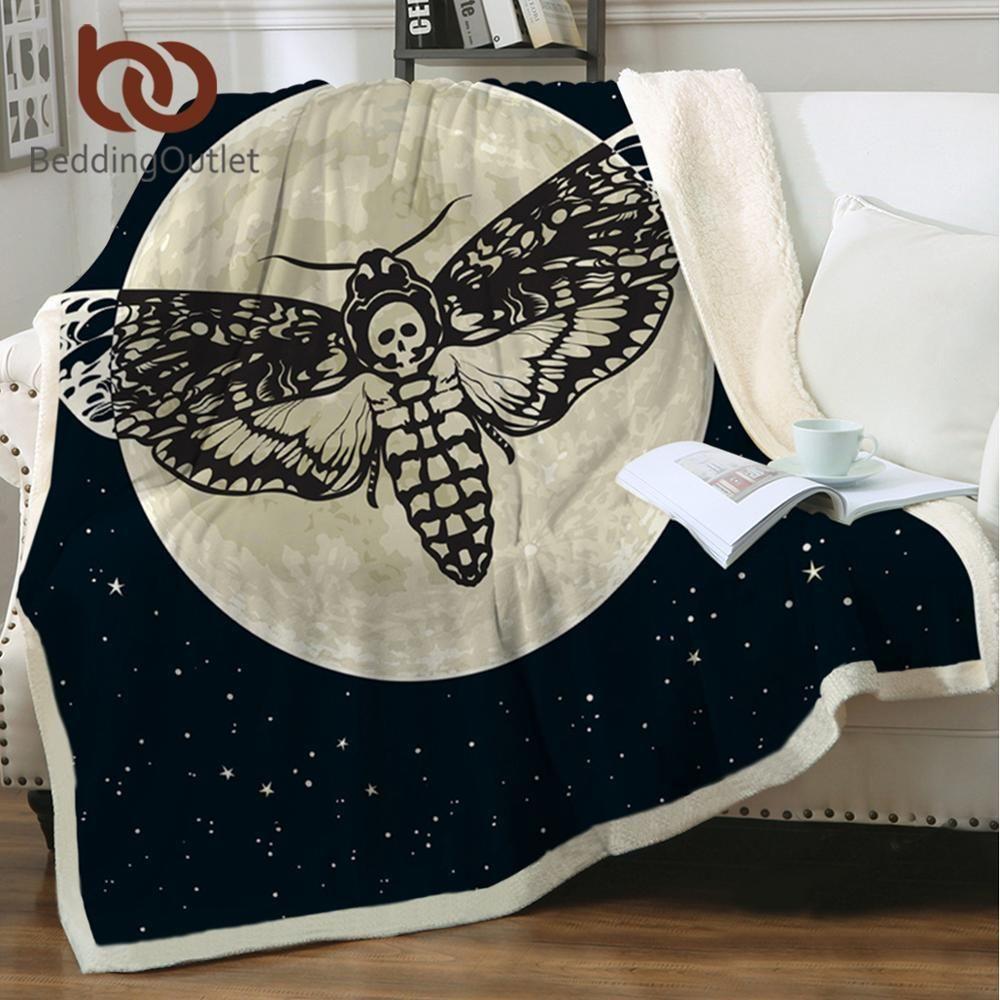 BeddingOutlet Moth Sherpa Throw Blanket Gothic Skull Astrology Bedspreads Butterfly Plush Sofa Blanket Moon Galaxy Bedding Koce 201113