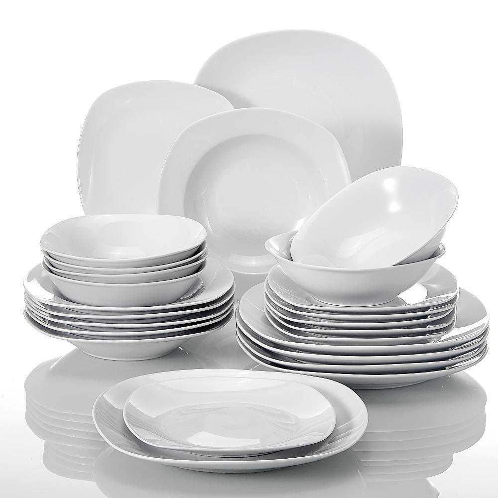 MALACASA ELISA CERAMIC PORAMIQUE 24 pièces Vaisselle céréales Bols de céréales Dîner Soupe dessert Set Serif Serif pour 6 personnes Y1119
