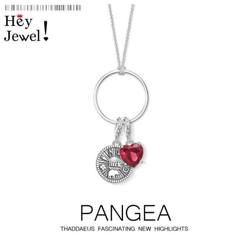 Charme Halskette Lucky Münze Rotes Herz, 2020 Frühling Neue Modeschmuck Europa 925 Sterling Silber Bijoux Trendy Geschenk für Frauen