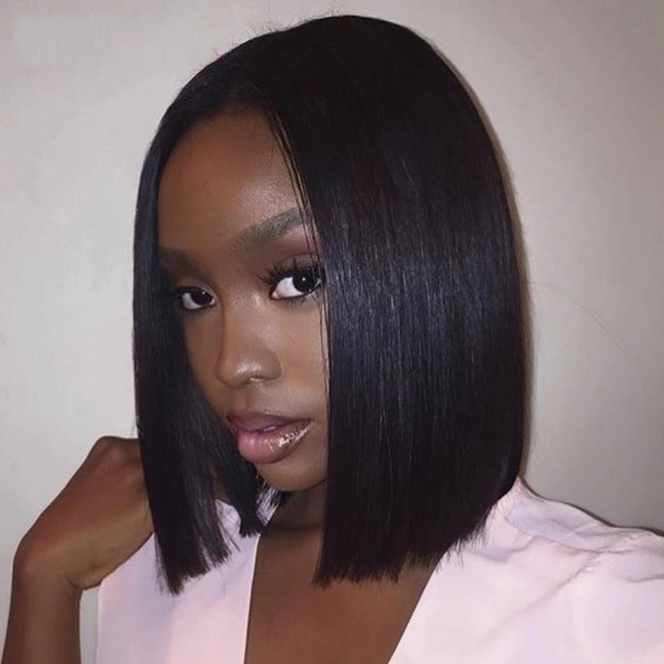 T Часть кружева парик прямые индийские человеческие волосы боба парики средняя часть без того чтобы черный кружевной парик для черных женщин