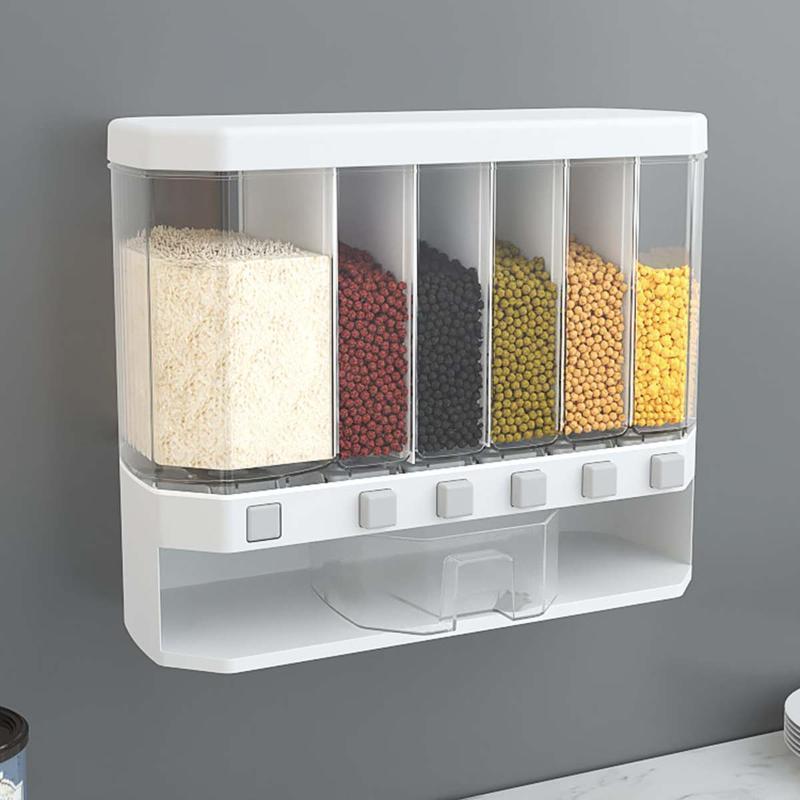 Lagerflaschen Gläser LBLA 10kg Wandmontierter Reis und Getreidespender 6 Feuchtigkeitsdichte Kunststoffautomatische Racks Versiegelte Box