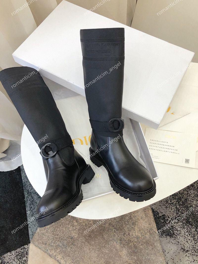 Nueva pasarela de París otoño invierno nueva colección khaki tejido cuero calcetines botas caballero dama baja tacón espeso soles cuero al aire libre zapatos casuales