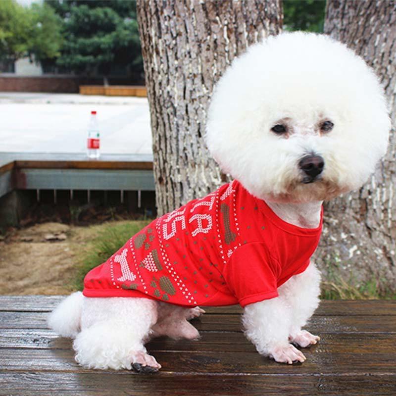 Casar Natal cão bonito roupas gato t-shirt veste filhote de cachorro macio casaco jaqueta vestuário vestuário roupas para animais de estimação