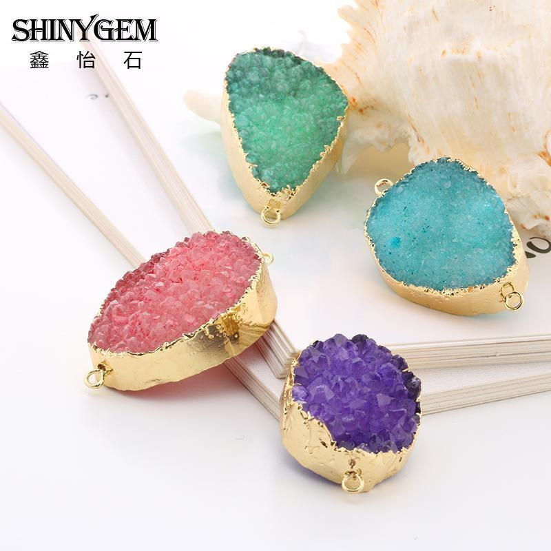 SHINYGEM 2020 Natural Blue Druzy Pendant Connector DIY Jewelry Contracted Geodes with Gold Electroplate Supplies Wholesale 5pcs Q1209