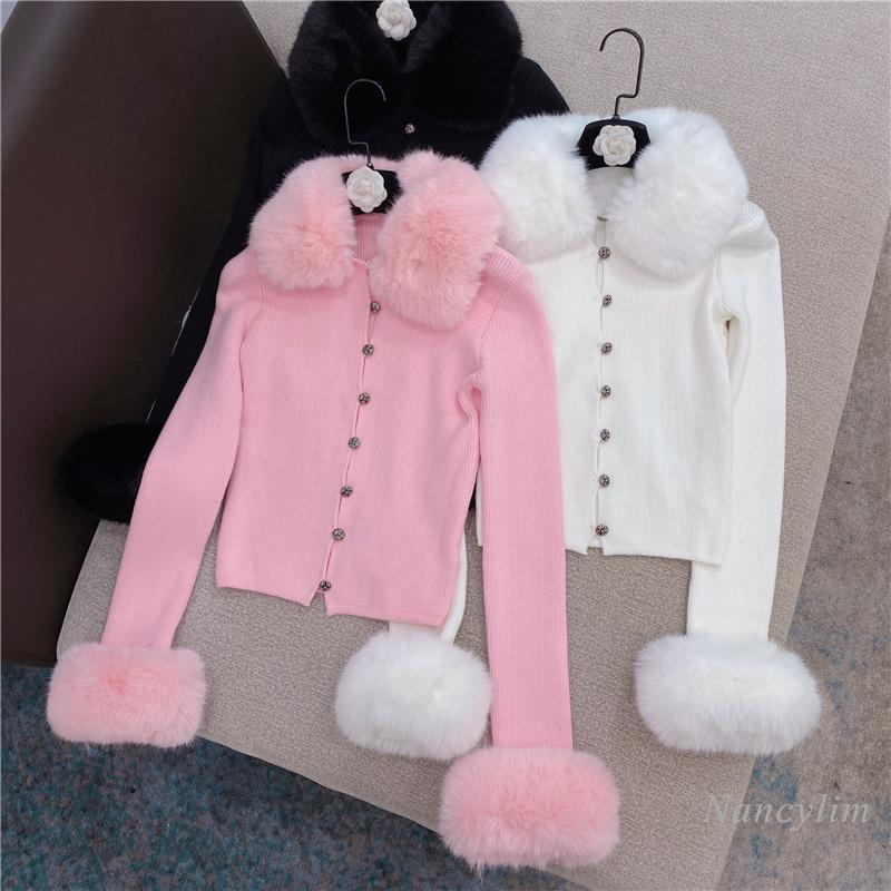Cardigan de gola de pele para mulheres 2021 primavera inverno novo estilo coreano elegante fit cropped camisola de malha branca rosa