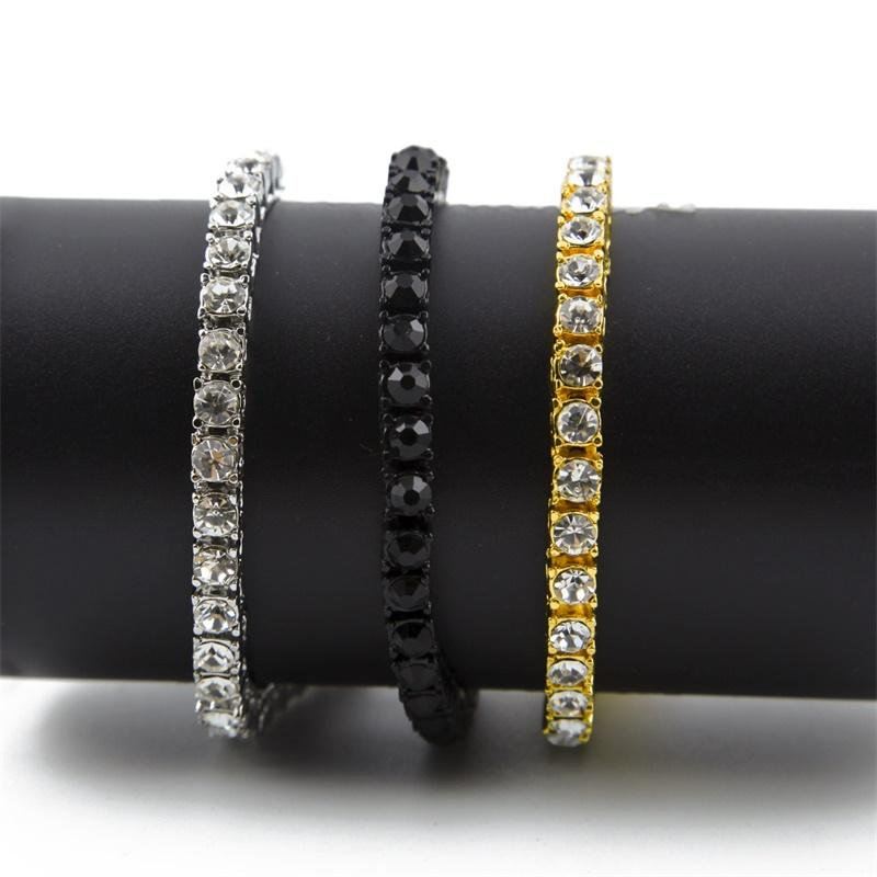 Hip Hop Bracelet Gold Plated Bling Bling 1 Row Iced Out Cz Bracelet Top Fashion Mens Jewelry 207 N2