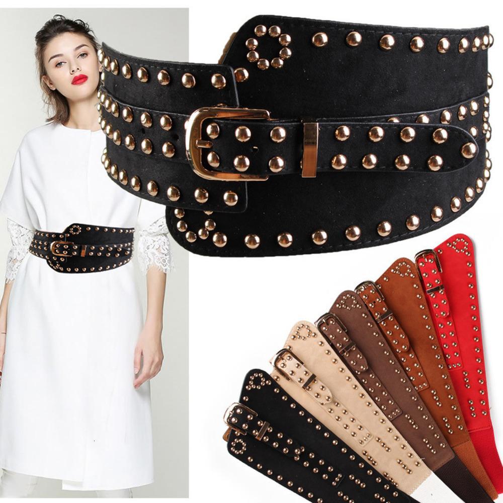 Мода заклепка пояса эластичная декоративная ветровка широкий пояс женские аксессуары пальто свитер 4TGQ