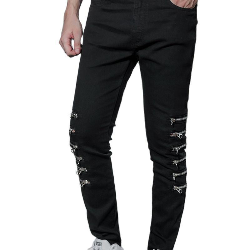 Jeans da uomo Pantaloni casual europei e americani Uomo più Zipper Slim Jeans Stretch Jeans High Street High Street Hip Hop Retro Trend Internet