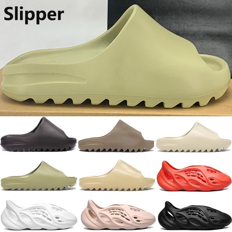 Новый пена бегун Kanye Platform тапочка сандальная обувь смола Тройная черная белая кости Земля коричневые мужские женские стилисты слайды сандалии