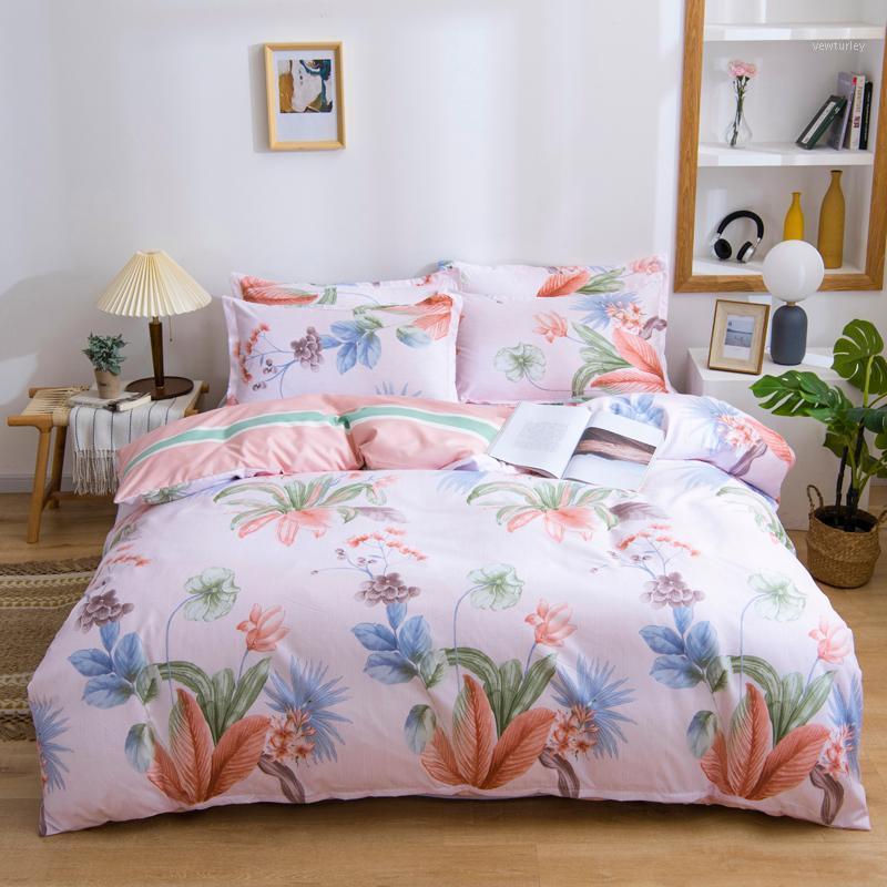 أوروبا مجموعة الفراش غطاء لحاف غطاء وسادة حاف تغطية مجموعات زهرة الملك الملكة مزدوجة واحدة كاملة الحجم الوردي سرير البياضات 1