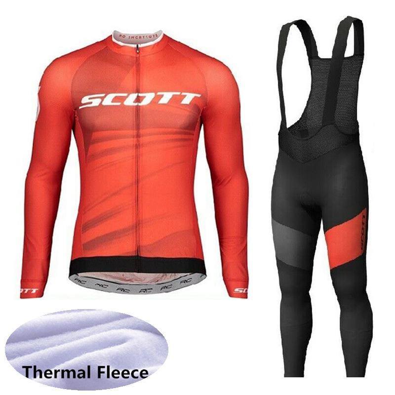 2021 Scott Team Winter Thermal Fleece Ciclismo Jersey Juego de camisa de la bicicleta de manga larga Pantalones de babero Traje Ropa de carreras Trajes de bicicleta Y20080407