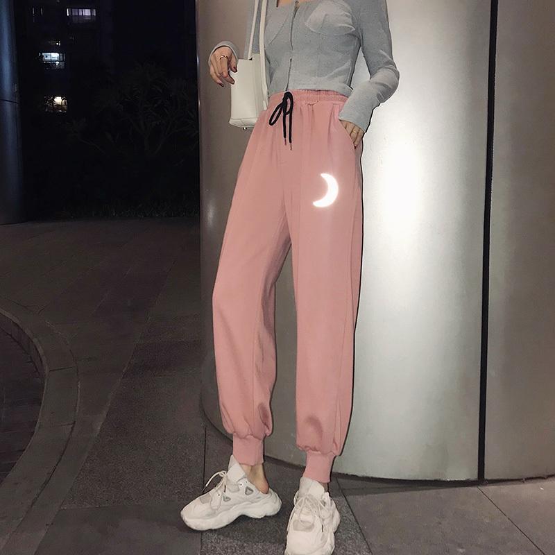 Rosa Hosen Frauen Harajuku Harem Hosen Kordelzug Elastische Taille Sweatpants Reflektierende Mondmuster Ästhetische Hosen Frauen Hosen T200422