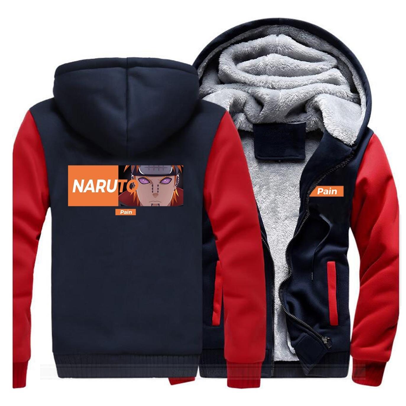 Naruto Japonés Anime Dolor espesar Sudaderas con capucha Hombres Invierno Cálido Casual Sudaderas Harajuku Chaquetas Chaquetas para hombre Para Fans