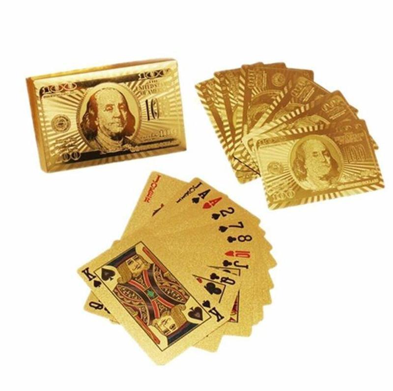 Sıcak Su Geçirmez Altın Folyo Kaplama Kart Oyunu Oynama Kartları Plastik Poker Gold 24 K Geleneksel Dolar Poker
