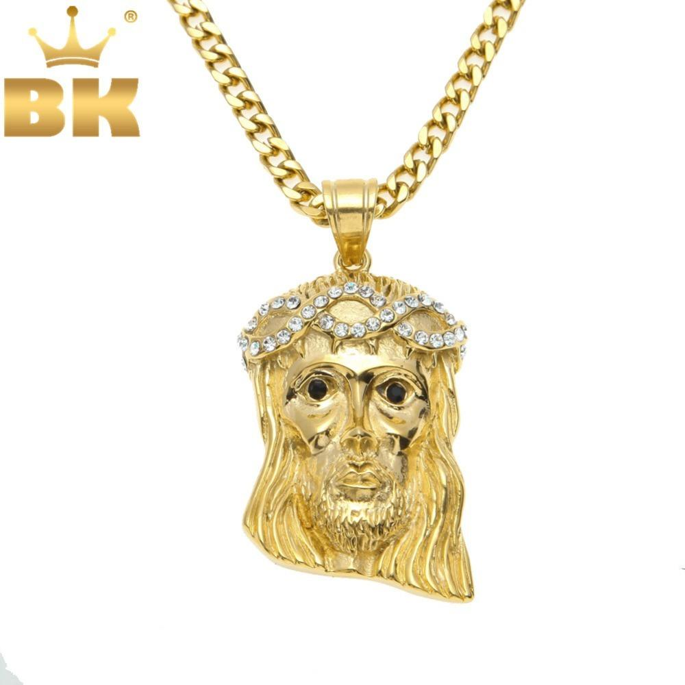 """Men Iced Out Gold Color Tone Stainless Steel Jesus Pendant Pave Crystal Necklace & Long Chain 28"""" Q1129"""