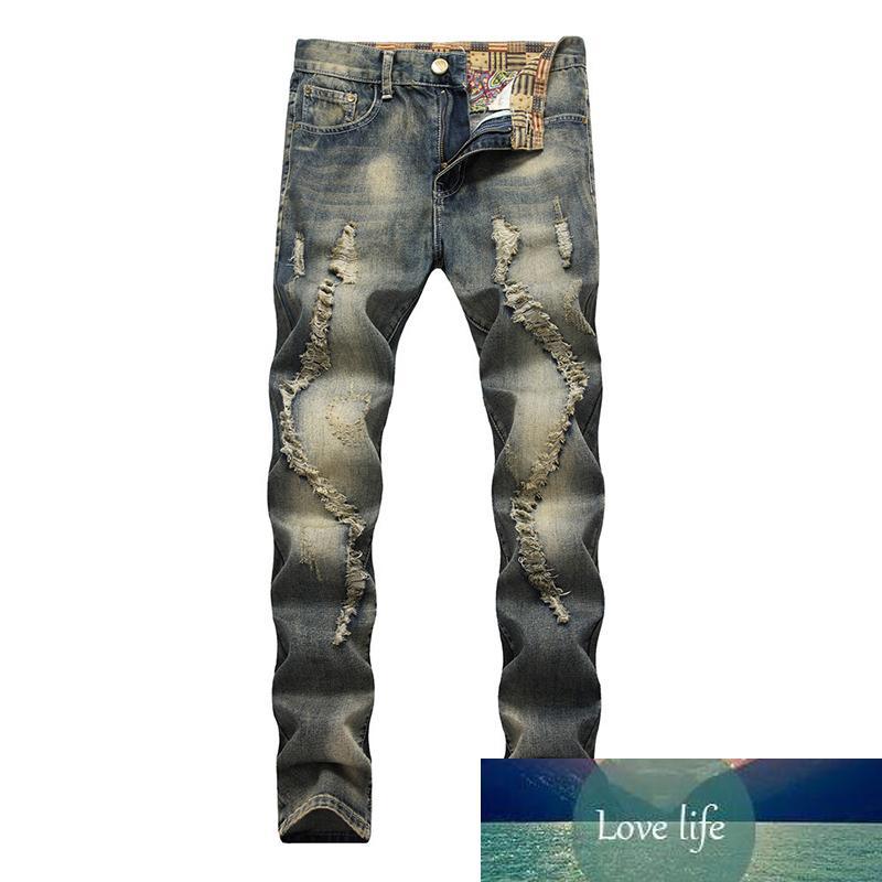 Мужчины повседневные старые джинсы джинсовые ретро тонкие прямые личности старые моды высокое качество длинные джинсы мужские большой размер 28-40