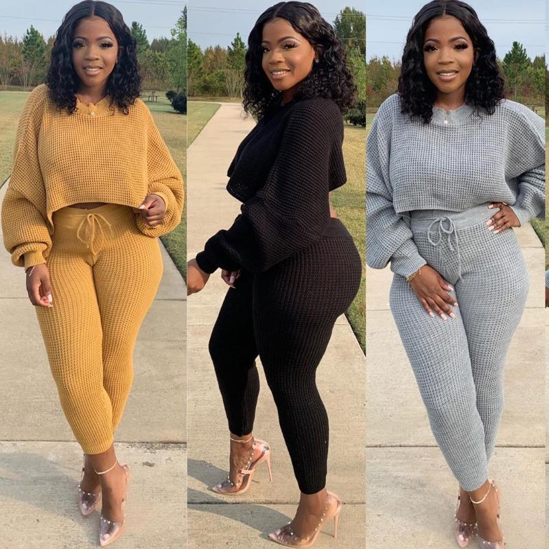 Women's Tracksuits Outfit For Women Casual Long Sleeve Top And Pants Knit Two Piece Set Autumn Winter Clothes