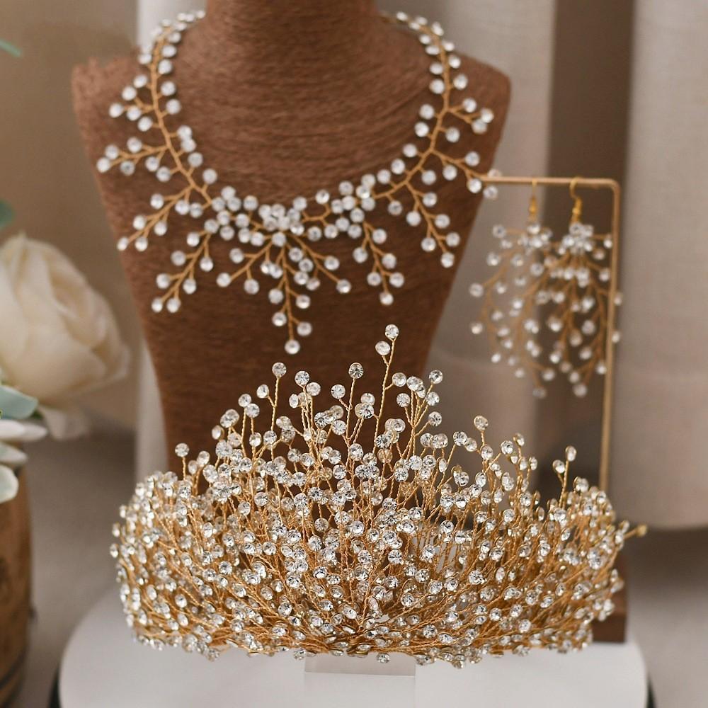 Impresionante árabe nupcial corona joyería de pelo rhinestone tocados de pelo banda de pelo accesorios para el cabello joyería mujer corona reina tiara al7805