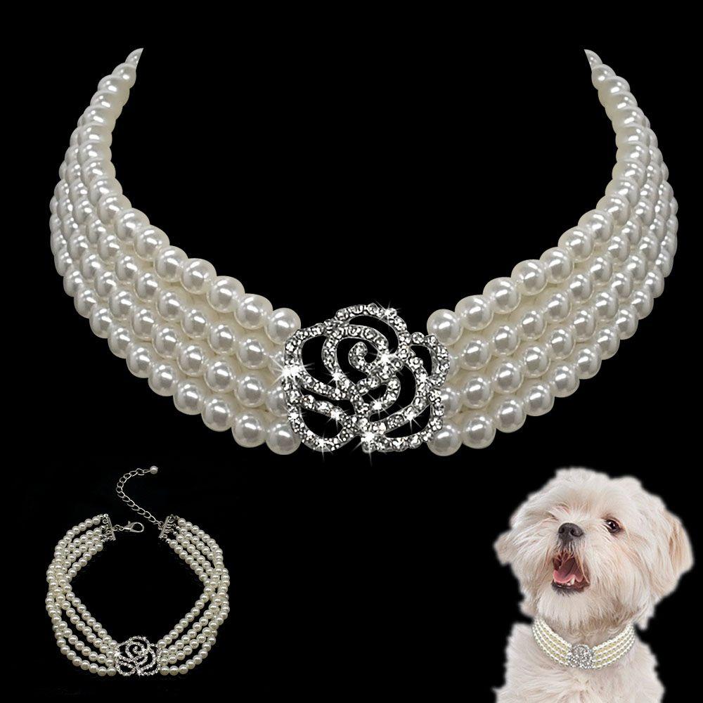 Collier Crystal Collier élégant Collier de cou de cou de roues de cou en strass Pearl Perle Pet Dog Accessoires Colliers pour chien Chihuahua