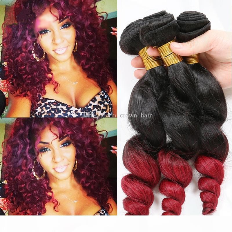 Dark Root Two Tone Brazilian Human Hair Bundles #1B Red Loose Wave Human Hair Extensions Ombre Red Hair Weaves Double Wefted